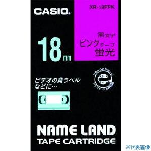 ■カシオ ネームランド用蛍光ピンク色テープに黒文字18MM〔品番:XR-18FPK〕[TR-8036684]