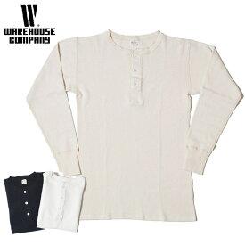 ウエアハウス WAREHOUSE サーマル Tシャツ Lot 5904 4本針ヘンリーネックワッフル長袖T 白 キナリ 黒 S-L