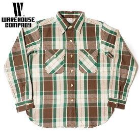 ウエアハウス WAREHOUSE ネルシャツ Lot 3104 FLANNEL SHIRTS C柄 ONE WASH メンズ 長袖 緑 M-XL 2019年秋冬