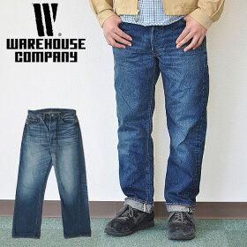 WAREHOUSEウエアハウス2ND-HAND1001(USEDWASH濃)セコハンジーンズデニムストレート