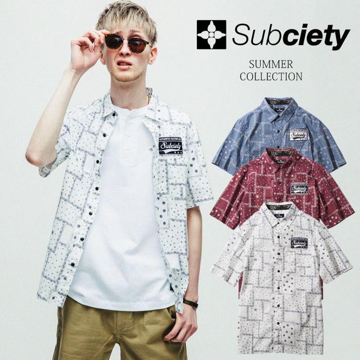 サブサエティ シャツ 半袖 SUBCIETY EMBLEM SHIRT S/S-PAISLEY- エンブレムシャツ 刺繍 メンズ ストリート サブサエティー 102-22008