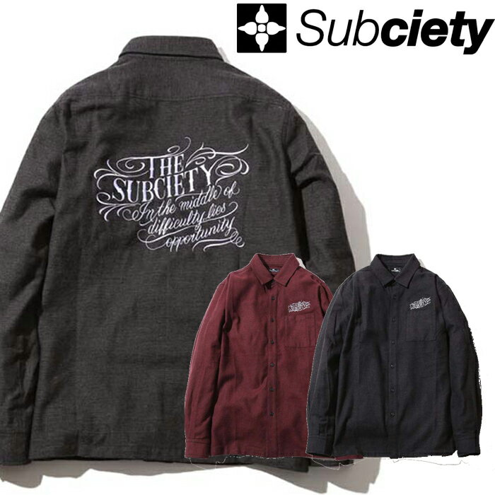 SUBCIETY サブサエティ シャツ HERRINGBONE SHIRT ヘリンボーンシャツ 103-20129 メンズ 長袖 ストリート サブサエティー