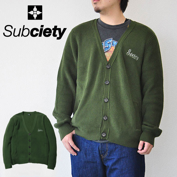 SUBCIETY サブサエティ カーディガン CARDIGAN-rockabilly- 103-52105 メンズ 緑 サブサエティー