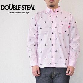 ダブルスティール DOUBLE STEAL シャツ Gorilla B.D shirts 長袖シャツ ボタンダウンシャツ ピンク 総柄 771-35001