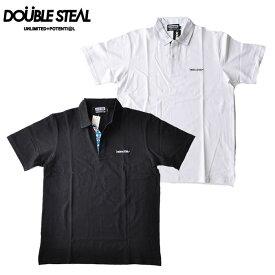ダブルスティール DOUBLE STEAL ポロシャツ Hawaiian Fabric Polo 白/黒 ロゴ メンズ ストリート系 992-27202