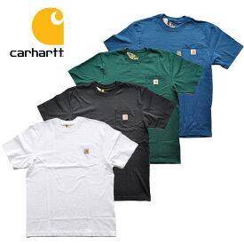 カーハート Tシャツ POCKET S/S TEE ポケットTシャツ 半袖 ロゴ 白/黒/緑/青 carhartt K87 RN14806