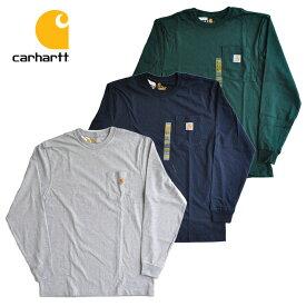 カーハート ロンT Long Sleeve Workwear Pocket T-Shirt 長袖 Tシャツ 白/黒/茶 ポケット メンズ ロゴ K126 carhartt