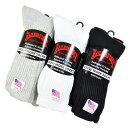 RAILROAD SOCK レイルロードソック クルーワークソックス 靴下 3足セット 黒 白 グレー