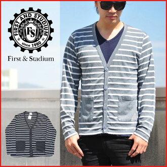 第一次 &STADIUM / 第一次与体育场/羊毛衫长袖条纹羊毛衫