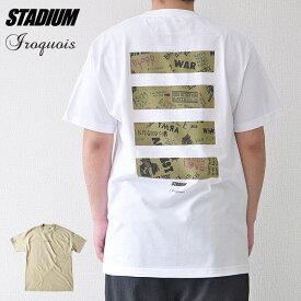 Iroquois イロコイ Tシャツ コラボ ANTI WAR S-XL 白/ベージュ STADIUM スタジアム オリジナル