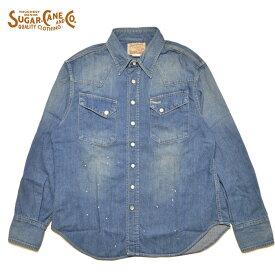 シュガーケーン SUGAR CANE デニムシャツ SC28755 BLUE DENIM WESTERN SHIRT AGED MODEL ウエスタンシャツ M-XL メンズ アメカジ