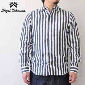 ナイジェルケーボン NIGEL CABOURN シャツ ブリティッシュオフィサーズシャツ Mサイズ 紺 ストライプ メンズ