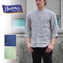 PHERROW'S フェローズ 17S-P7NC1  七分袖 シャツ リネンシャツ バンドカラーシャツ ノーカラーシャツ 襟なし メンズ
