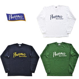 Pherrow's フェローズ Tシャツ PLT1 LONG L/SプリントTシャツ 白 紺 緑 長袖 ロゴ ロンT アメカジ M-XL