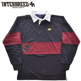 インターブリード INTERBREED ラガーシャツ Rebellion Rugby Shirt L-XL 紺 ストリート IB19AW-23