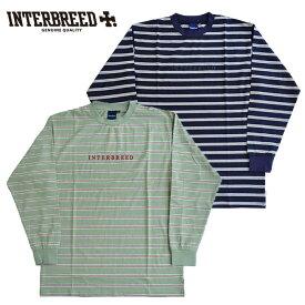 インターブリード Tシャツ Logo Border LS Tee ボーダー ネイビー サンド M-XL 長袖 ロンT IB20AW-19 INTERBREED