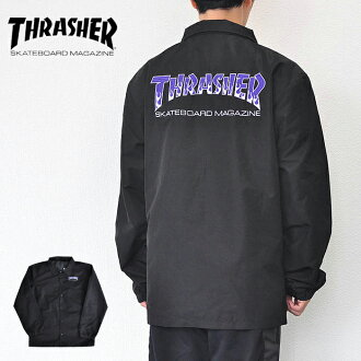 Slasher coach jacket BBQ COACH JACKET logo black M-XL street THRASHER TH8962