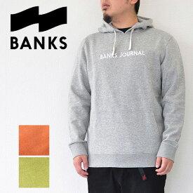 BANKS バンクス パーカー LABEL FLEECE スウェット メンズ サーフ グレー/茶/緑 S-XL AFL0156 レーベルフリース