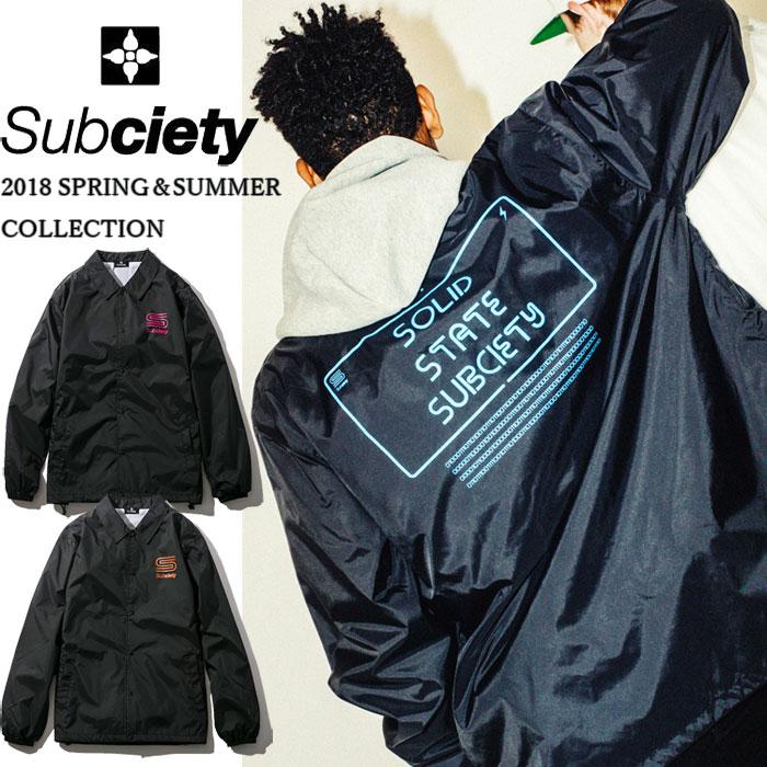 SUBCIETY サブサエティ ジャケット COACH JKT-modulation- コーチジャケット メンズ 黒/白 ストリート 104-62190 サブサエティー