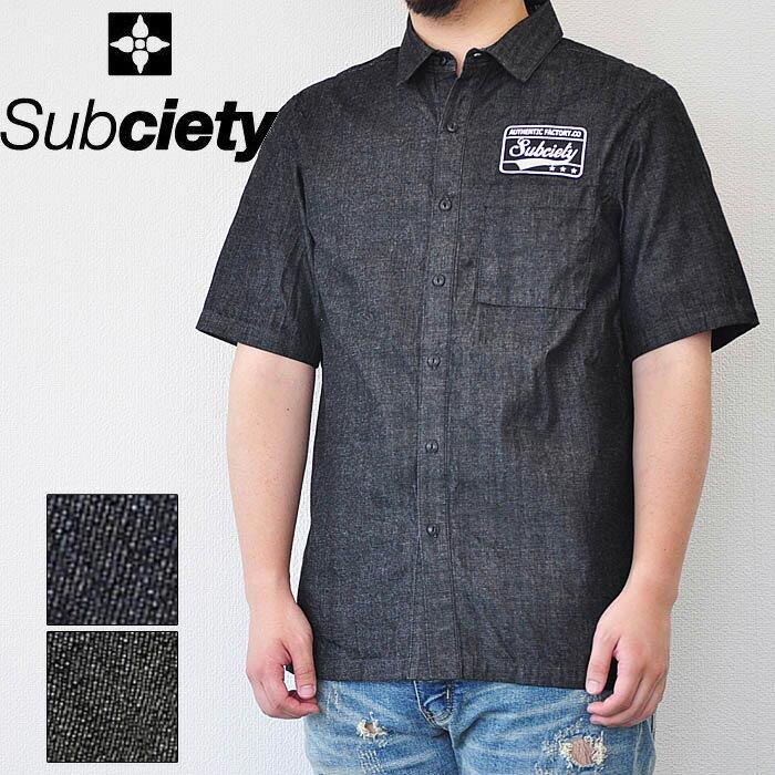 SUBCIETY サブサエティ シャツ EMBLEM SHIRT S/S-DENIM- メンズ 半袖シャツ 黒/インディゴ M-XL 106-22264 サブサエティー