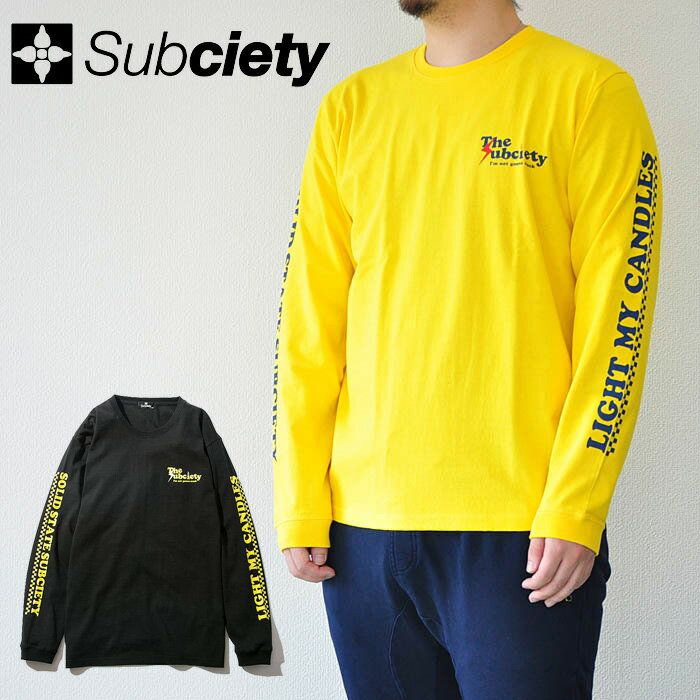 SUBCIETY サブサエティ Lithium L/S Tシャツ メンズ 春夏 コットン100% 黄/黒 104-44215 サブサエティー