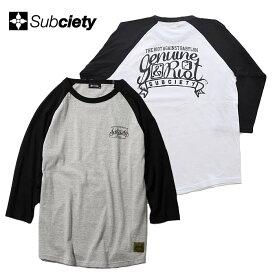 SUBCIETY サブサエティ Tシャツ BABYLON 7/S 白 グレー M-XL 7分袖 メンズ ストリート系 101-44465