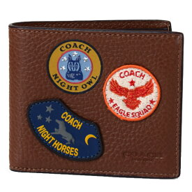 75f43e1adbde コーチ メンズ 財布 COACH レザー アメリカン ミリタリー パッチ パッチワーク ワッペン 二つ折り財布 サドル 30775