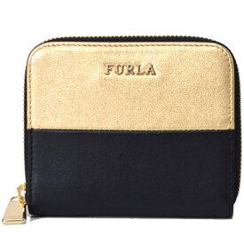 b3613469a2cb フルラ コンパクト財布 FURLA レザー バイカラー ジップ コンパクト 財布 小銭入れ ブラック×ゴールド 830446