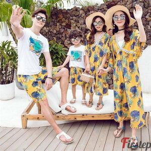 ご家族お揃い 親子ペアルック 子供 花柄 半袖ワンピース シャツ+パンツ ママと子供の親子衣装 ボヘミア風 夏服 兄妹 姉妹 兄弟ペア トップス ワンピース