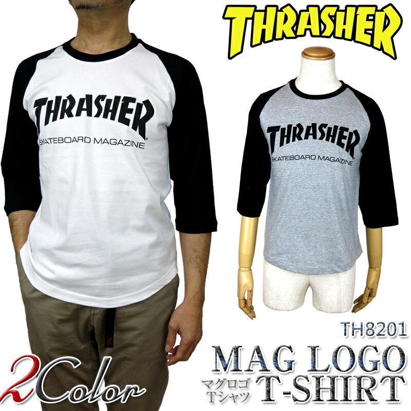【ウインターセール開催中】【20%OFF!】THRASHER スラッシャー TH8201 MAG 3/4 Raglan sleeve T-SHIRT マグロゴ 七分袖 ラグラン スリーブ tシャツ ロンt