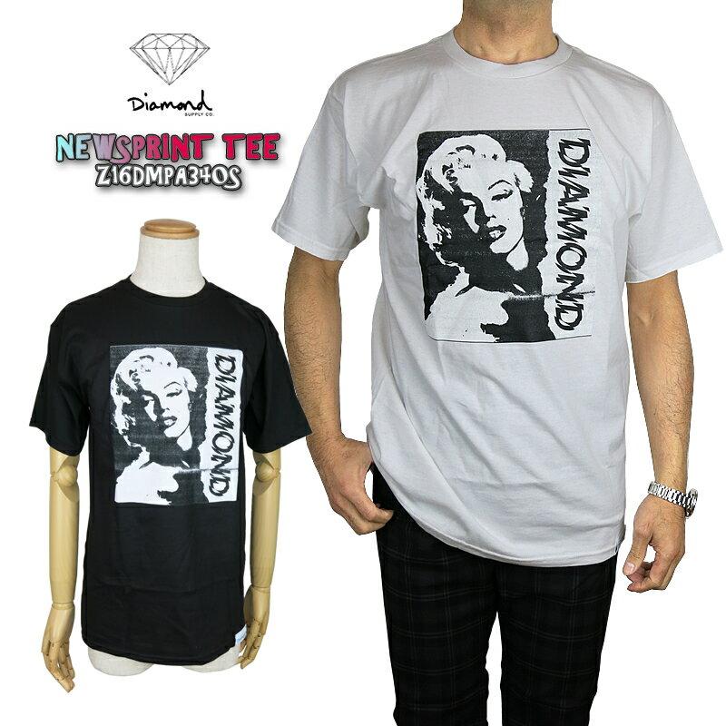 【50%OFF!】ダイアモンドサプライ × マリリンモンロー diamond supply co Z16DMPA340S NEWSPRINT TEE T-shirt ニュースプリント Tシャツ コラボ