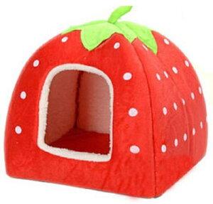 【着後レビューで送料無料】いちご型ペットハウス2WAYハウス&ベッドPetStyleベッド小型犬猫用