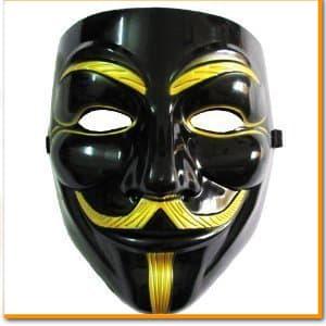V for Vendetta Mask Vフォー・ヴェンデッタマスク アノニマス ガイ・フォークス マスク ブラック&ゴールド VIP版 仮面 黒 お面 コスプレ ダンス 衣装 ヒップホップ パーティー ハロウィン 舞台