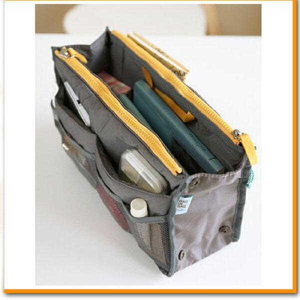 バッグインバッグ バックインバッグ グレー ポーチ バッグ 収納 化粧ポーチ 化粧 コスメ 機能的 小物入れ オフィス 片付け 外出 旅行 財布 携帯 手帳 メイクポーチ ファスナー 出張