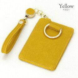 ディープパスケースレディースカード入れ定期入れオシャレ可愛い実用的リール付きゴールド金具大人かわいいおしゃれスエードタッチ合成皮革ブラックグレーピンクイエロー