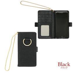 iphoneケースiphone8手帳型スマホケーススエード調リング横開きiphone6iphone7ケースレディースiPhone6sケース手帳型大人ミラー付き手帳型おしゃれ手帳型チェーンチャームブラックグレーピンクイエローグリーンライトパープル