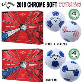 キャロウェイ 2018年 クロムソフト トゥルービス (STARS & STRIPES、EUROPEAN) 4ピース ゴルフボール 1ダース(12個入) [CALLAWAY CHROME SOFT TRUVIS (STARS & STRIPES、EUROPEAN) 4-PIECE GOLF BALL] USモデル