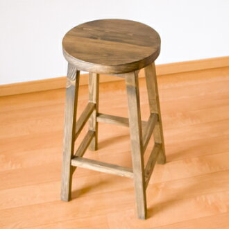 Wood country antique North Europe cafe retro finished product Shin pull Heiss tool made of Heiss tool 60cm in height stool barstool kitchen stool chair chair Wood stool counter chair counter stool chair bar chair bar counter flower stock