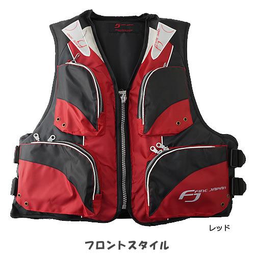 お買得品 ライフジャケット FV-6110 笛付き レッド×ブラック (フローティングベスト 大人用) 【釣り具】