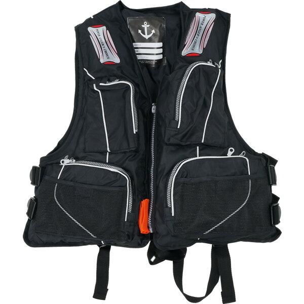 お買得品 ライフジャケット FV-6110 笛付き ブラック (フローティングベスト 大人用) 【釣り具】