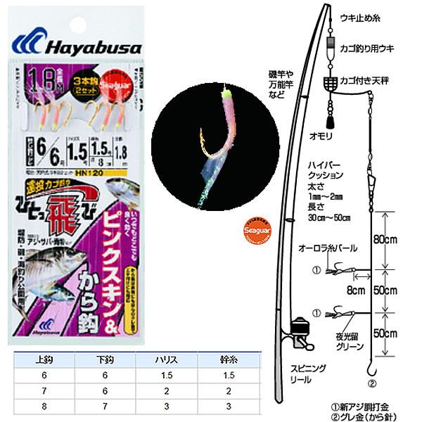 ハヤブサ ひとっ飛び オ-ロラピンクスキン 全長180cm HN120 (カゴ釣り仕掛け)