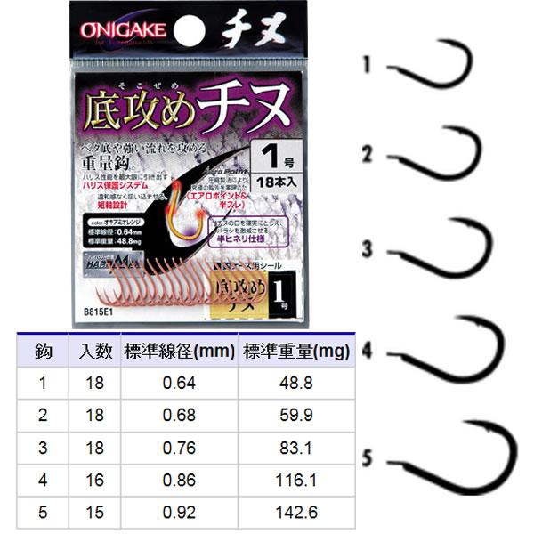 ハヤブサ 鬼掛 底攻めチヌ オキアミオレンジ B815E1 (バラ針)
