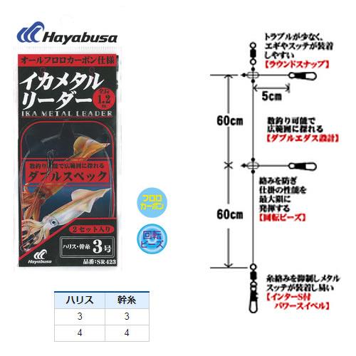 ハヤブサ イカメタルリーダー ダブルスペック 2セット SR423 (イカメタル仕掛け)