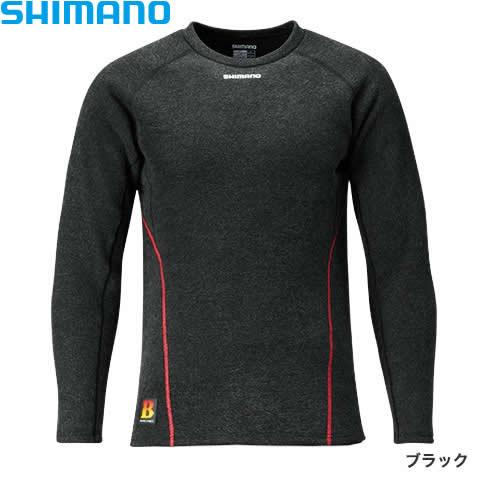 シマノ ブレスハイパー+℃ストレッチアンダーシャツ(極厚タイプ) IN-020Q ブラック XS〜XL (保温肌着)
