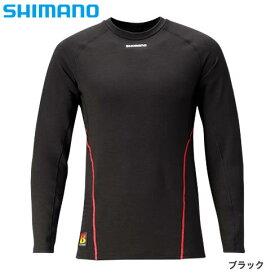 シマノ ブレスハイパー+℃ ストレッチアンダーシャツ (中厚タイプ) IN-040Q ブラック XS〜XL (保温肌着 防寒着)