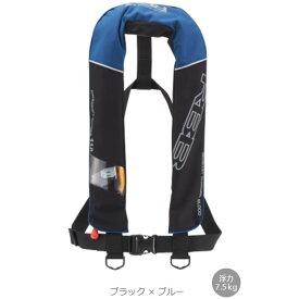 リバレイ RBB エアーライフベスト18 ブラック×ブルー No.8789 (自動膨張式ライフジャケット 国土交通省型式承認品 小型船舶用救命胴衣 TYPE A タイプA 桜マーク)