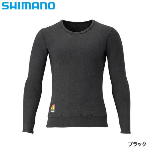 シマノ ブレスハイパー+℃ ストレッチアンダーシャツ(超極厚) ブラック IN-030R (防寒肌着 防寒ウエア)