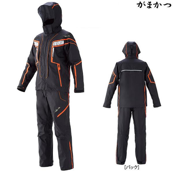 がまかつ フィッシングレインスーツ ブラック×オレンジ GM-3530 (レインウェア)