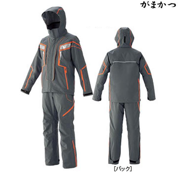 がまかつ フィッシングレインスーツ チャコール/オレンジ GM-3530 (レインウェア)