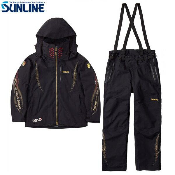 サンライン ディアプレックス ウォームアップスーツ ブラック SUW-1803 S〜LL (防寒着 防寒ウェア)